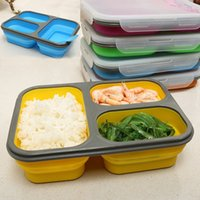 Wholesale microwave bowls - Newest Outdoor Portable Fold Lunch Boxs Silicon Microwave Dinnerware Lunchbox Bowls Container Adult Kids Three Lattice Folding Bowls WX-C67
