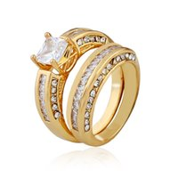 Wholesale 14k Gold Couple Rings - 2.10 Ct Princess Cut AAA CZ 14k Gold Plated Wedding Ring Set Women's Size 5-10