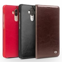 Wholesale Huawei Ascend Mate Flip - Cheap 5158-92 Case for Huawei Ascend Mate 9 Handmade Leather Cover for Huawei Mate 9 Luxury Ultra Slim Flip Case 5.9 holster