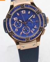 Wholesale Swiss Quartz Ladies - 2017 New Swiss Brand 36MM Luxury Ladies Watches Quartz Chronograph Womens Watch Blue Dial With Blue Diamond Bezel On A Blue Rubber Band