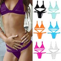 Wholesale Sexy Fasion - Women Fasion Sexy Mesh Bikini Set Hollow Out Tops Bandage Swimsuit Strappy Swimwear Sexy Mini String Thong 7 Colors 2506003