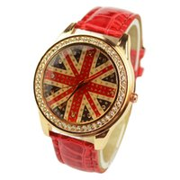 Wholesale British Flag Sale - Free shipping Foreign trade sales watch Set auger British flag watch fashion Ms retro quartz watch popular abroad
