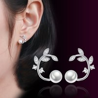Wholesale German Flowers - Luxury Romantic style Korean tree branches flower ear studs OL style 5A zircon with German high quality polished charm