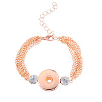 Wholesale Gold Jewelry For Children - Crystal noosa bracelets rose gold chunks button snaps hand cuff for children DIY jewelry birthday gift 270077