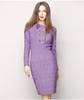 Wholesale Designer Wool Dresses - HIGH QUALITY Fashion 2016 Designer Vintage Winter Knitted Dresses Women Autumn Long Sleeve Buttons Wool Warm Sweaters Purple Blac