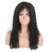 "Wholesale cheap full natural curly wig - Brazilian Afro Kinky Curly Human Hair Wigs #1b natural black 130% Swiss Lace Front Wigs 10""-30"" Cheap Glueless Wig For Black Women"