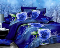 Wholesale Orange Flowered Comforter - TOP quality 4 pcs cotton reactive print Designers 3d bedding sets flowers print comforter duvet covers bedclothes bed Linen