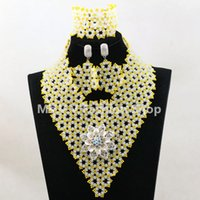 Wholesale headtie wedding party for sale - Group buy nigerian jewelry set white yellow african beads handmade necklace set match for multi color african sego headtie gele and aso ebi wedding