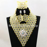 rosa sego headtie großhandel-nigerianer schmuck set weiß gelb afrikanische perlen handgefertigte halskette set match für mehrfarbige afrikanische sego headtie gele und aso ebi hochzeit