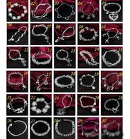 30PCS / Lot Mix Order Atacado 925 Sterling Silver Plated Fashion Link Chain Bracelets Jewelry