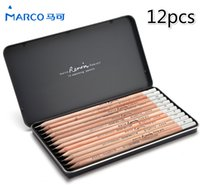 Wholesale Marco Pencil - MARCO Renoir painting master drawing pencil sketch Pencil Set 12pcs iron box 3000-12TN