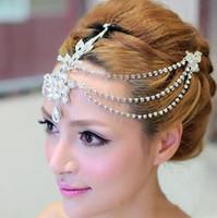 Wholesale Metal Chain Hair Band - 2016 Gorgeous Women Bohemian Metal Pearl Hair Band Water Drop Design Beaded Crystals Chains Bridal Hair Accessories