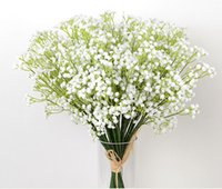 Wholesale Wholesale Blue White Vase - 30Pcs Stick In a Vase OF Gypsophila Artificial Flowers Table flowers Fake Babysbreath Silk Flowers Plant Home Wedding Decoration 105 - 1000B