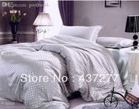 Wholesale Top Selling Bedding Sets - Wholesale-Top Selling home textile luxury grey silk cotton bedding sets for full queen duvet cover bedsheet bedclothes comforter set 4 5pc