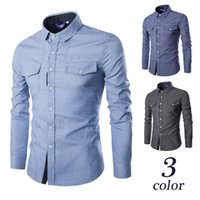 Wholesale Bump Down - The latest European and American wind leisure cowboy joker men high quality placket bump color long sleeve shirt C808