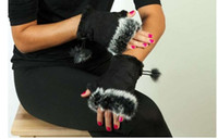 Wholesale girls fingerless gloves black - Fashion Women Girl Faux Rabbit Fur Hand Warmer Winter Fingerless Gloves Mittens 10pairs Lot Free Shipping