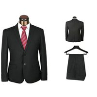 бесплатные мужские костюмы оптовых-Wholesale-formal  2 pieces men's classic model black suits for work dropship mens suits with pants free tie as gift