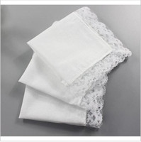 Wholesale Women Handkerchief Wholesale - Free Shipping 15 Pcs Wholesale Personalized White Lace Handkerchief Woman Wedding Gifts Squares Cotton Handkerchiefs
