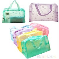 Wholesale Cheap Candy Pouches - Floral Print Transparent Waterproof Makeup Make up Cosmetic Bag Toiletry Bathing Pouch Women Cosmetic Bag Bathing Waterproof Pouch Hot Cheap