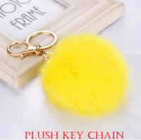 Wholesale white feather pendant light - Plush Fashion Key Chain 8cm Pompon Lovely Hair Bulb Pendant Bag Car Pendant Hang Decorations Lady Accessories Bea020