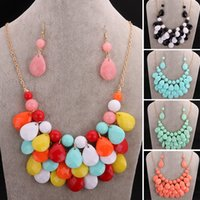 Wholesale Green Orange Statement Necklace - Fashion Bohemia CZ Statement Necklace Collar Colorful Blue Red Rhinestone Flower Beads Pendant Choker Necklace for Women