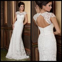 Wholesale Open Back Wedding Dress Designers - 2016 Berta Mermaid Wedding Dresses White Lace Cap Sleeve Vintage Sheer Neck Designer Open Back Wedding Bridal Gowns with Buttons
