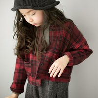 Wholesale Modern Kids Clothing Wholesale - New Autumn Baby Kids Clothing Girls Full Cotton Plaid Shirts Children Long Sleeved Modern Style Blouses All Match School Clothes Tops 9428