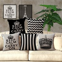 Wholesale wholesale decorative crowns - Classic retro black and white geometric models pillow case cushion Crown Tower pillowcase Creative pillow cover Decorative 240444
