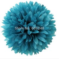 "Wholesale Teal Blue Party Decorations - flower tiara 10pcs 8""(20cm) Festival Holiday Party Nursery Decorations Teal Blue Tissue Paper Pom Poms Hanging Craft Flower Ball"