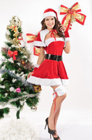 Wholesale Sexy Woman Cosplay - Wholesale-New Arrival Santa Dress Leggings Sexy Velvet Miss Santa Cosplay Costume woman sexy uniform christmas sexy santa claus outfit