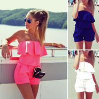 Wholesale plus size strapless jumpsuit - New Women Mini Jumpsuit Summer Solid 4 Colors Ruffles Jumpsuit Sexy Strapless Tunic Beach Playsuit Shorts Romper Plus Size