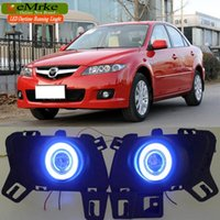 Wholesale Led H11 55w - eeMrke Daytime Running Lights For Mazda6 Sedan Wagon LED Angel Eye DRL Halogen H11 55W Fog Lamp Kits
