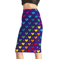 Wholesale Rainbow Pencils - NEW Arrival 0002 Sexy Girl Women Summer Love Ya Bits Rainbow Heart 3D Prints Skater Evening Sexy Knee Length Tight Pencil Skirt