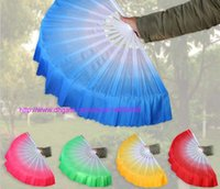 Wholesale Belly Dance Gifts - 20pcs Cinese Dance Belly Dance Fan Kung Fu Tai Chi Practice Chinese Indian Performance Big Silk Veil Fan Wedding Party Gift free ship