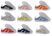 Top Quaity Wholesale 2017 Hombres Mujeres Casual Primavera Verano Suede Gazelle Racer Negro Rojo Gris Naranja Lightweght Breathable Walking Shoes 36-45