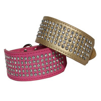 Wholesale Wholesale Delivery Letters - 5 Rows Rhinestone Retractable Dog Diamond Collar Medium Large Pet PU Leather Collars Fast Delivery Time Gold Silver Red Pink Color