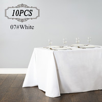Wholesale White Linen Table Cloth - 10PC Rectangular Table Cloth  Polyester Seamless Wedding Party Table Cover Cloths  Banquet Round Tablecloths Elegant Table Linen for Hotel