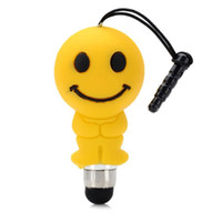 пылезащитный экран оптовых-Wholesale-Universal cute cartoon smile face touch screen stylus pen anti-dust 3.5mm plug