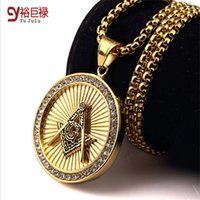 Wholesale Compass Necklaces For Women - New Arrival Iced out 18K Gold Freemason Masonic Compass G Round Pendant Free-Mason Freemasonry Hip Hop Necklace For Men Women