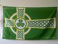 Wholesale Irish Crosses - Irish Celtics Cross Flag 90 x 150 cm Polyester Ireland Christian Catholic St Patrick Saint Banner