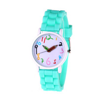 Wholesale Children Watches Geneva - Geneva imitation leather watch Popular Simple fashion big dial silicone watch students font creative children watch candy color pencil point