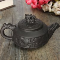 Wholesale Yixing Teapot Dragon - New Arrival Chinese Dragon Kung Fu Tea Sets Yixing Purple Clay Teapot Black Teacup Tea Service High Quality Tea Set