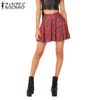 Wholesale Red Tartan Skirts - Wholesale-New 2016 Summer Style Fashion Women Pleated Retro High Waist Red Plaid Skirt Leisure Mini Skirt Uniform Tartan Skirts Plus SIze