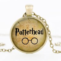Wholesale Cameo Cabochon Black - 2016 Harry Potter Mal Managed fashion pendant necklace Cameo Cabochon Glass Tile Necklace Jewelry material miss tatement wholesale