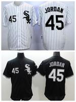 Wholesale Men Wearing Purple Shirts - White Sox #45 Michael Jordan Black Baseball Jersey High Quality Stitched Baseball Shirts Cheap Sports Jerseys Athletic Baseball Wears