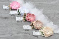 Wholesale Newborn Wholesale Feather Headbands - Satin Flower Baby Girl Headband Matching Fleur Strass Lace and Feather Hair Accessories Newborn Photography Props 10pcs lot QueenBaby