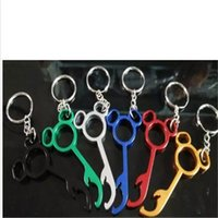 Wholesale Lovely Bear Stainless Steel - Useful Lovely Metal mickey Shaped Wine Bear Bottle Opener Ring Keychain Key Chain Lovely Cooking Tool Gizmos Beautiful a44-a47