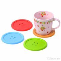 Wholesale Silicone Rubber Coaster - Cute Colorful Round Silicone Button Cup Cushion Home Drink Placemat Tableware Coaster Mat Pads Creative Household Supplies Free Shipping