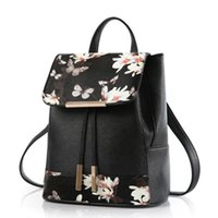 Wholesale Leather Crossbody Backpack - New Flower Printed Style Multifunction Shoulder or Crossbody Bag Backpack PU Leather Women Casual Backpacks Travel Bags Tote GLB086