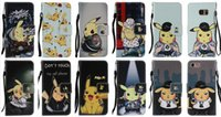 Wholesale Iphone Cases Pikachu - Pikachu Poke Wallet Leather For IPhone 7 I7 7g 4.7'' Iphone7 Plus 7Plus 5.5'' 7P 7+ PU Cartoon Monster Cases Flip Cover Pouch Case+Strap